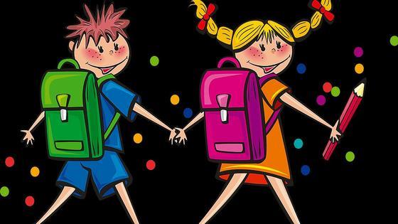 мальчик и девочка с рюкзаками (рисунок)