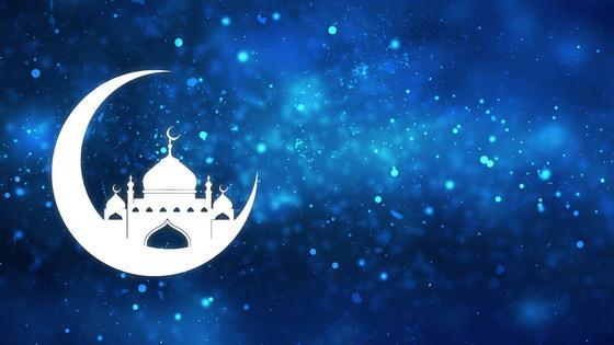 Мечеть в полумесяце на звездном небе