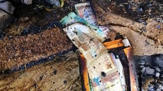 пачка денег сохранилась после пожара