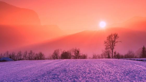 Зимний пейзаж, заход солнца