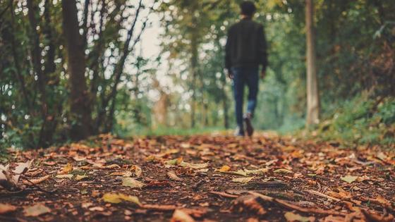 парень идет по осеннему парку