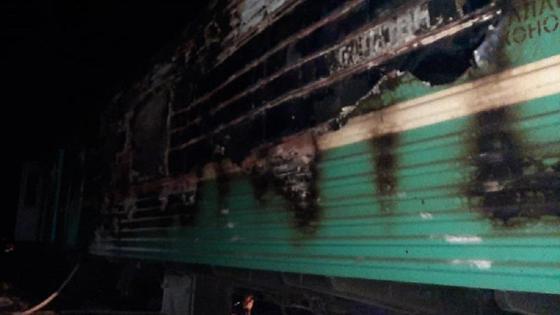 Поезд загорелся в Мангистауской области