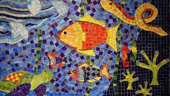 Мозаика из бумаги: морской мир