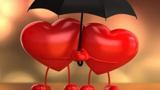 сердца под зонтиком