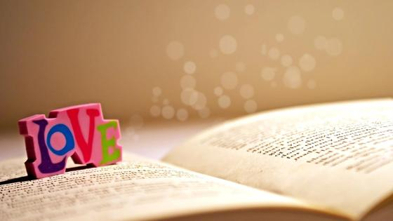 раскрытая книга и надпись Love